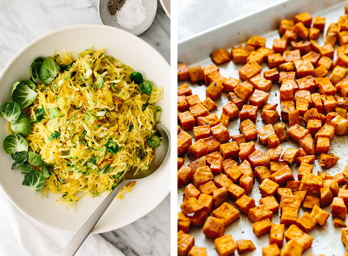 Whole30 roasted sweet potatoes and spaghetti squash for lunch.