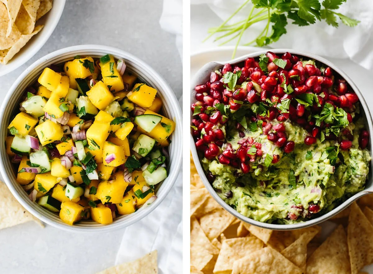 Whole30 snacks including a bowl of mango salsa and guacamole