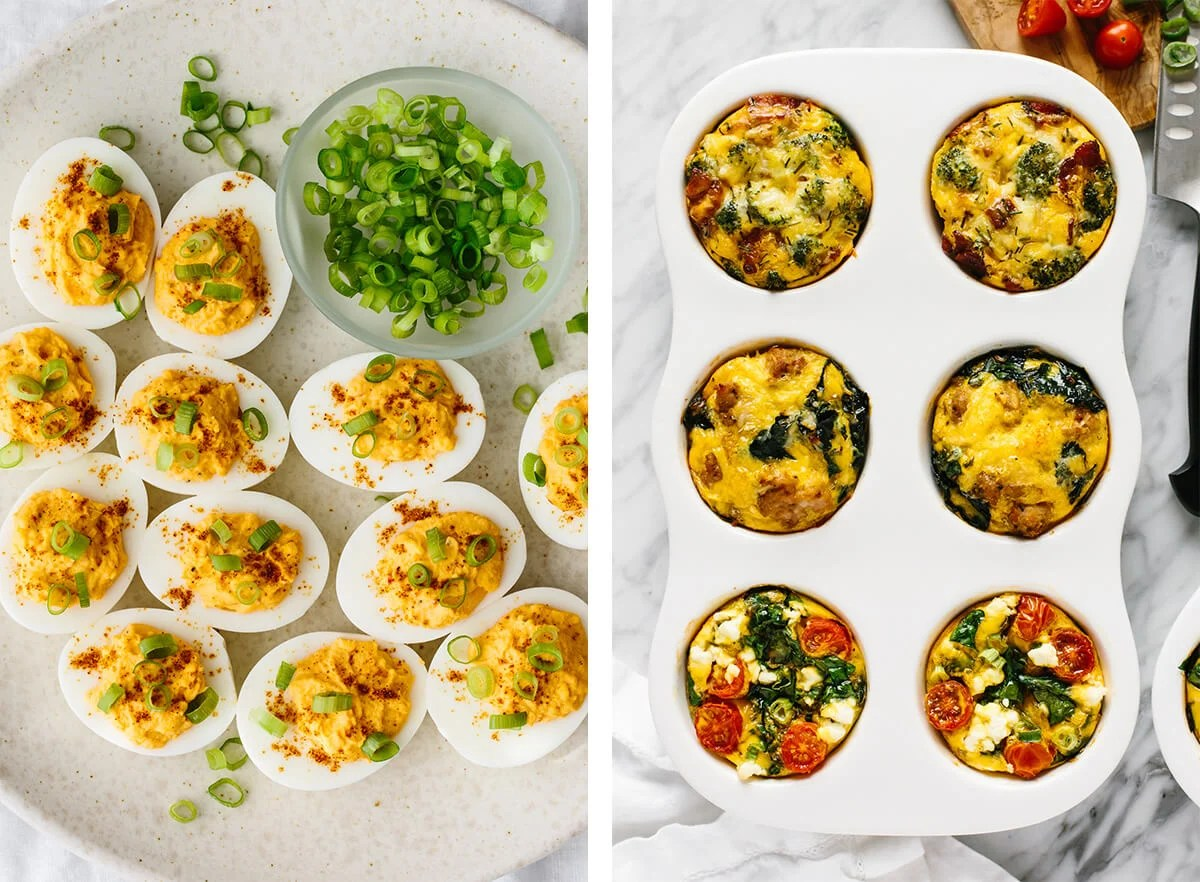 Whole30 snacks with deviled eggs and egg muffins