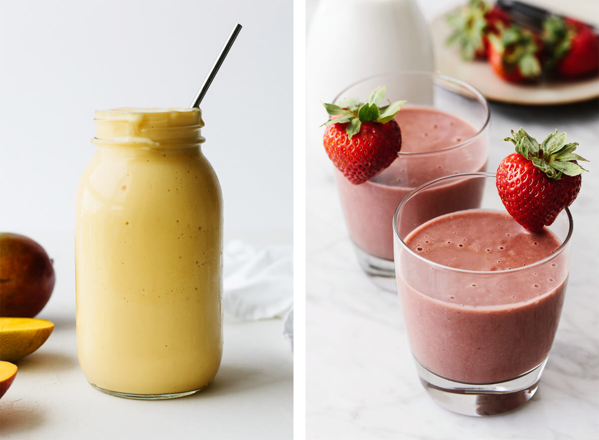 Fruit smoothie recipes with mango smoothie and strawberry banana.