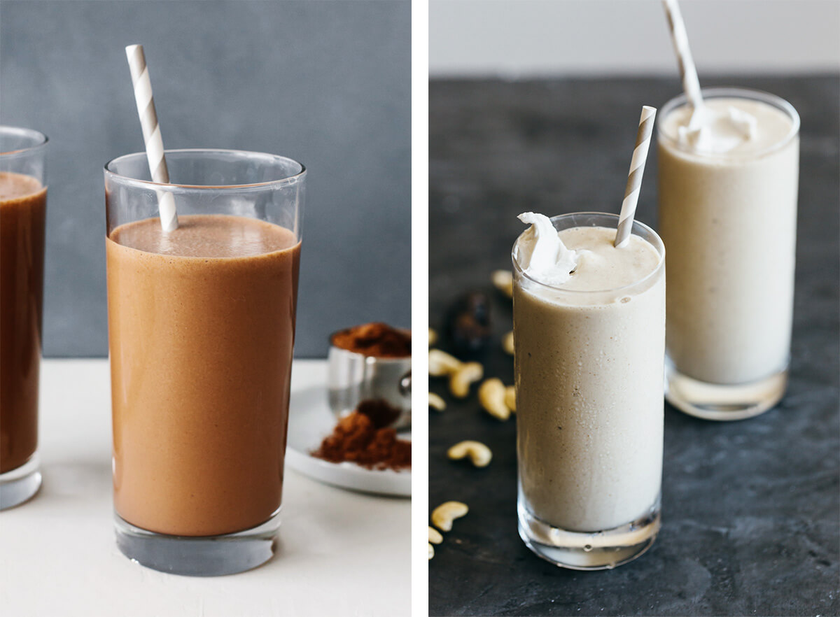 Smoothie recipes featuring a chocolate and banana date smoothie.