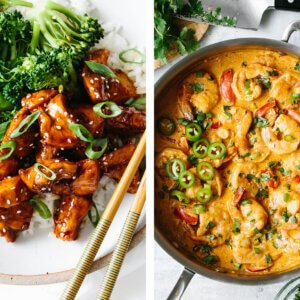 Chipotle shrimp next to teriyaki chicken for easy dinner ideas.