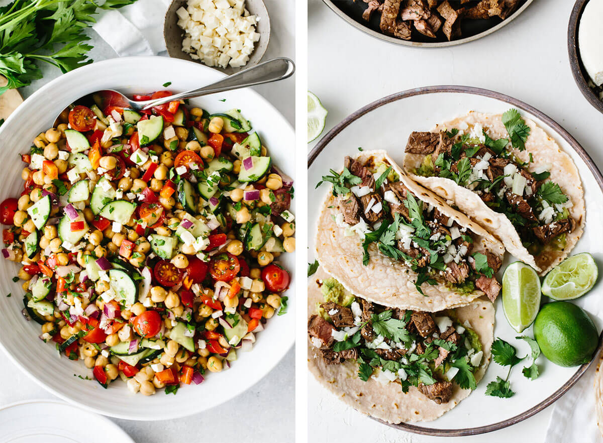 Chickpea salad and carne asada tacos for easy dinner ideas.