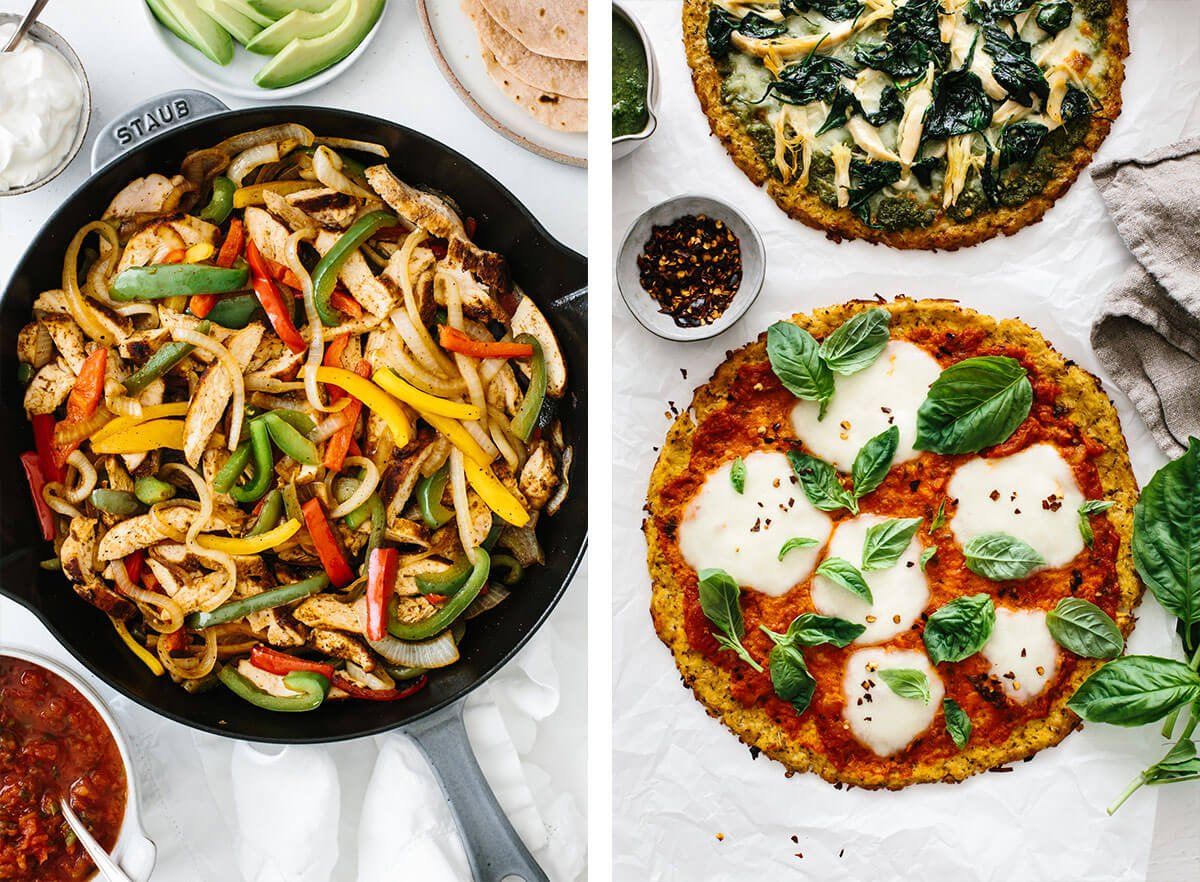 Cauliflower pizza and chicken fajitas for family dinner ideas.