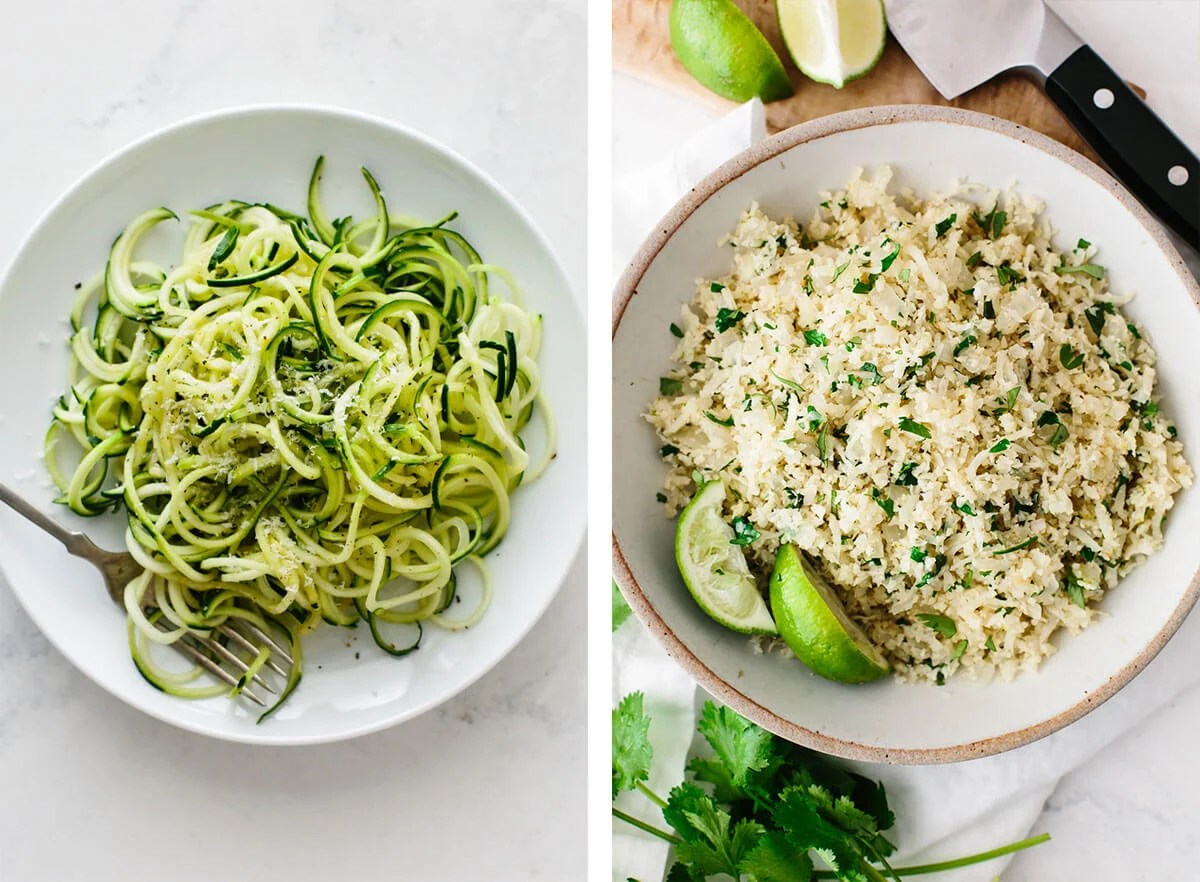 Zucchini noodles and cauliflower rice for easy dinner ideas.
