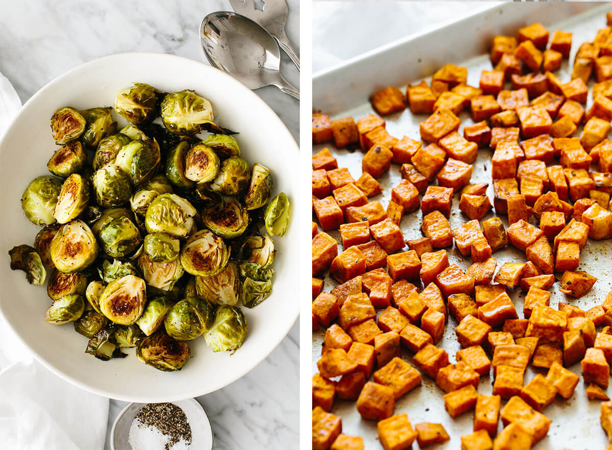Brussels sprouts and sweet potatoes for easy dinner ideas.