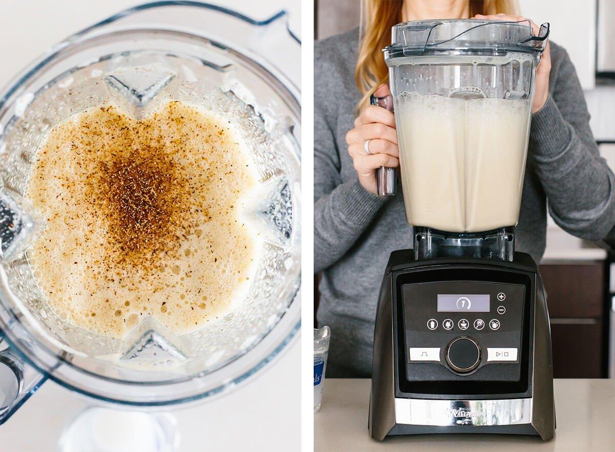Blending eggnog in a Vitamix blender.