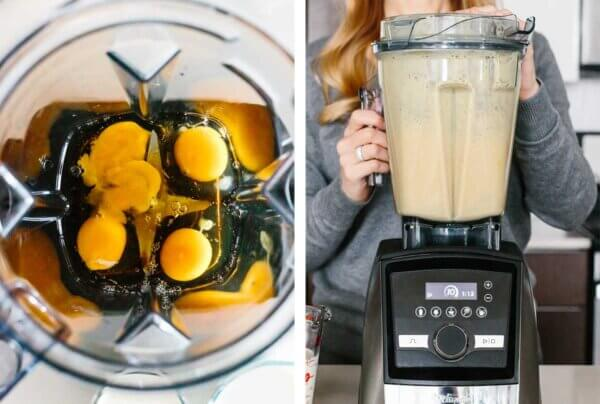 Blending eggs and maple syrup for eggnog.