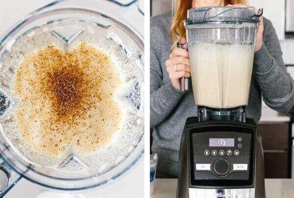 Blending eggnog in a blender.