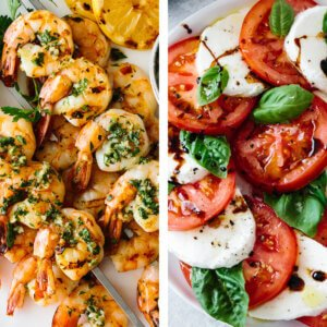Mediterranean recipes with grilled shrimp and caprese salad.