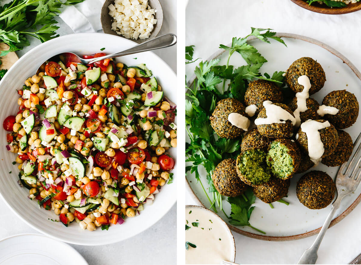 Mediterranean recipes featuring falafel and chickpea salad.