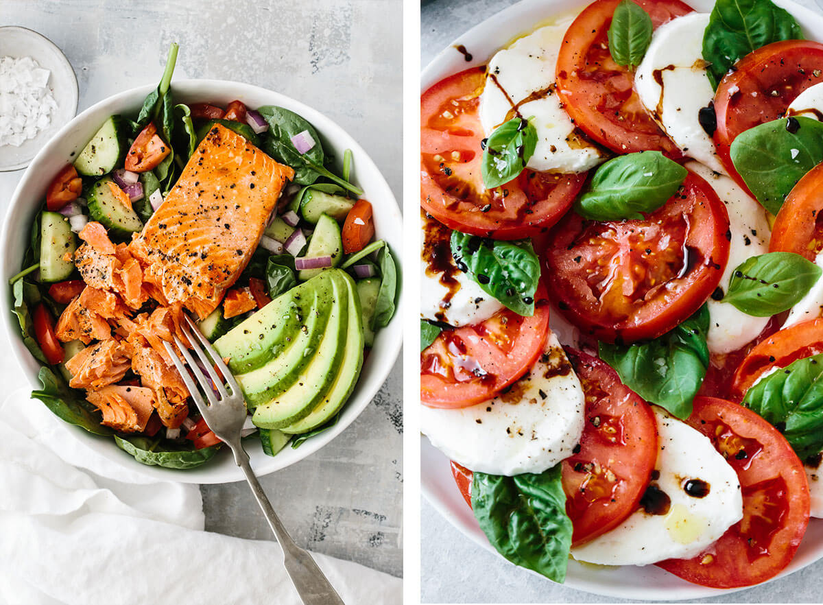 Mediterranean recipes featuring caprese salad and salmon salad.
