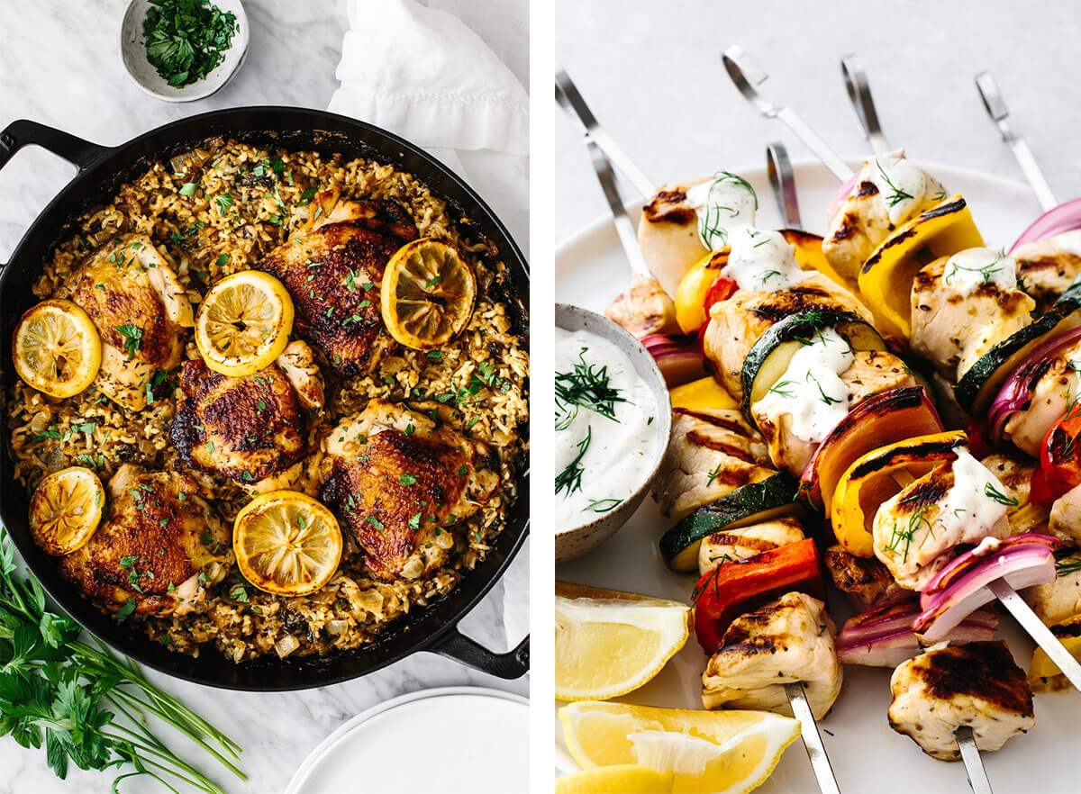 Mediterranean recipes featuring chicken kabobs and chicken and rice.