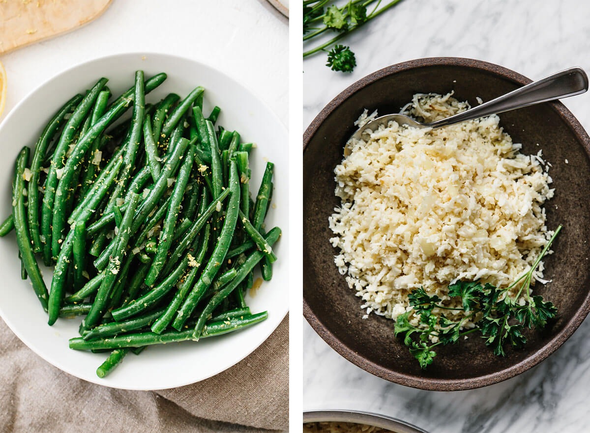 Mediterranean recipes featuring cauliflower rice and green beans.