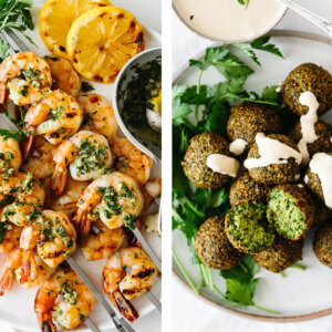 Mediterranean recipes with falafel and grilled shrimp.