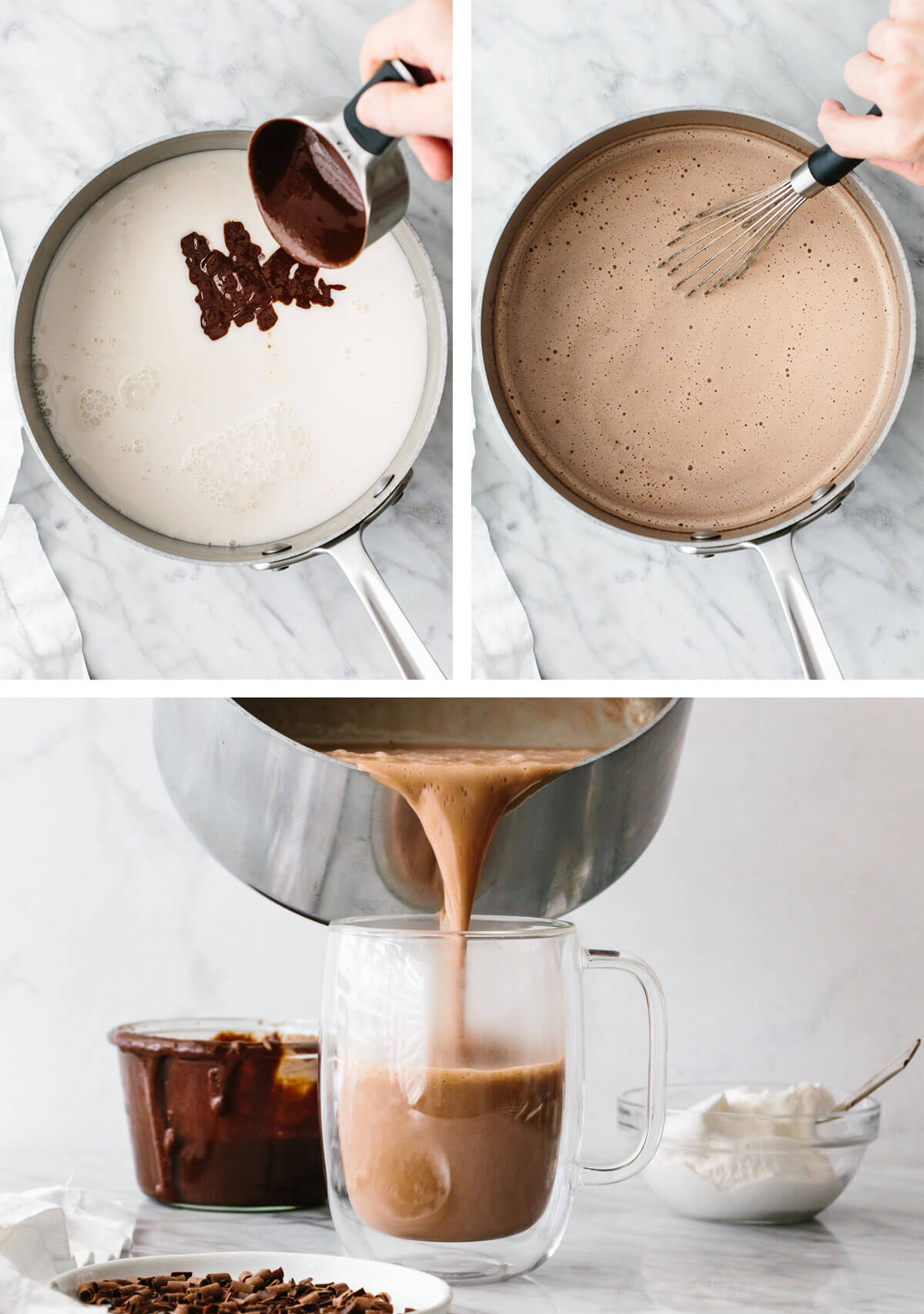 Making nutella hot chocolate in a sauce pan then pouring into a cup.