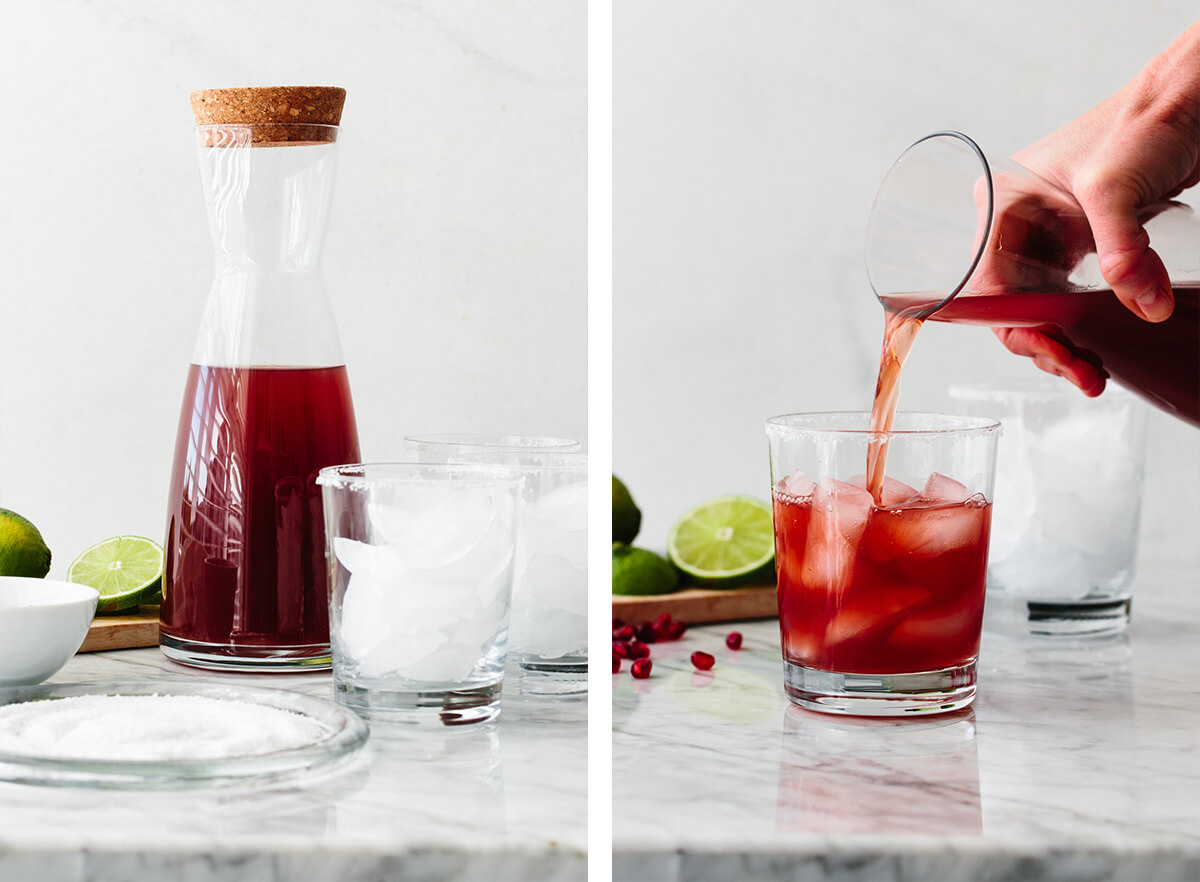 Pouring pomegranate margarita into a glass.