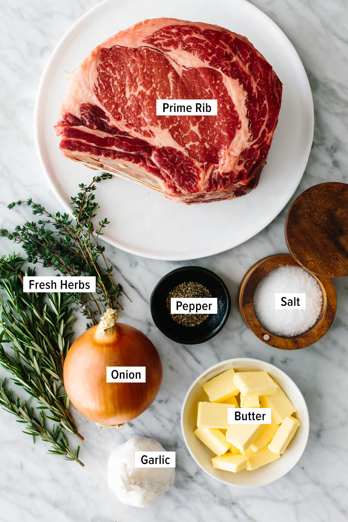 Ingredients to make prime rib on a counter.