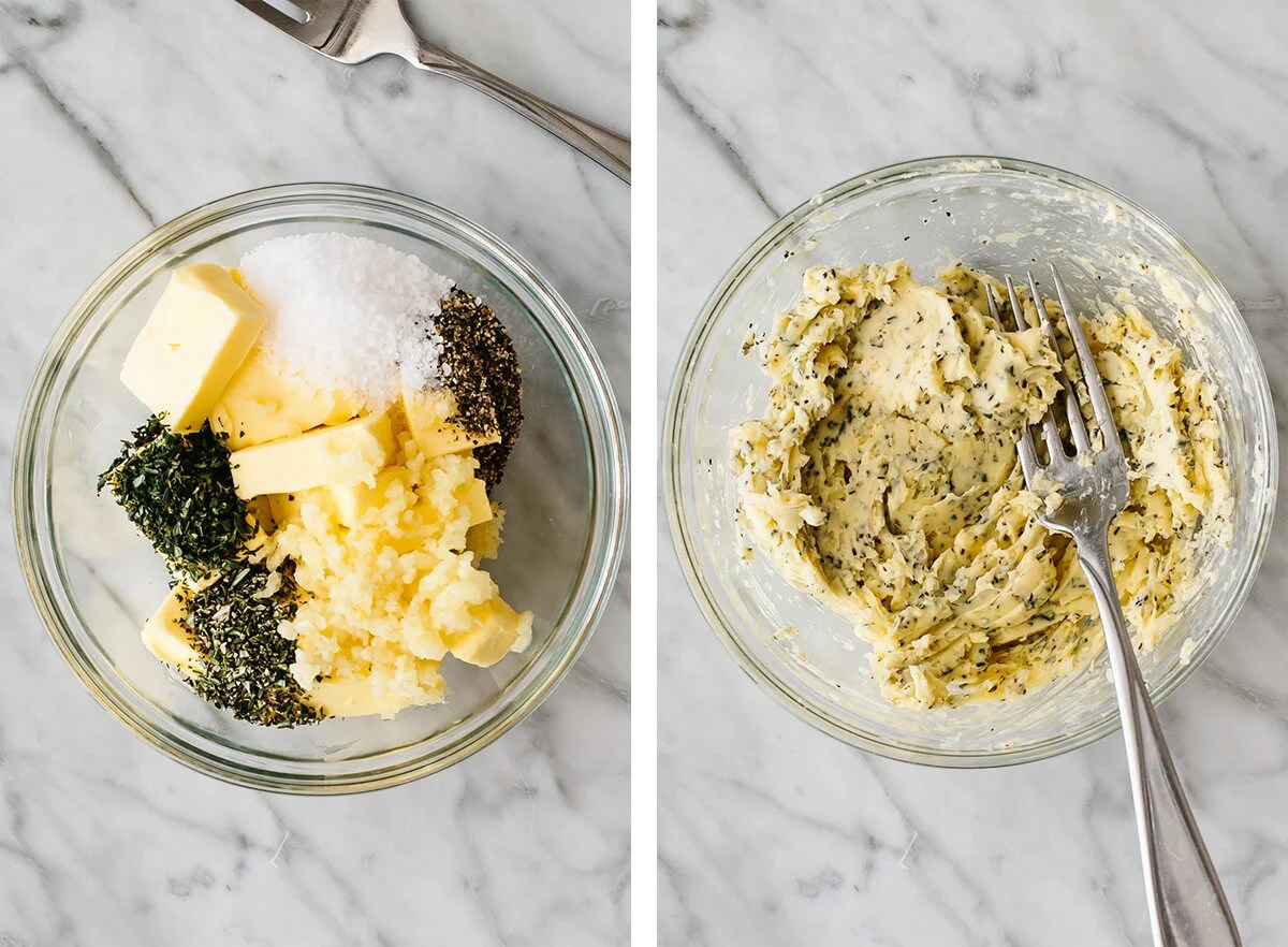 Stirring the garlic herb butter in a bowl.