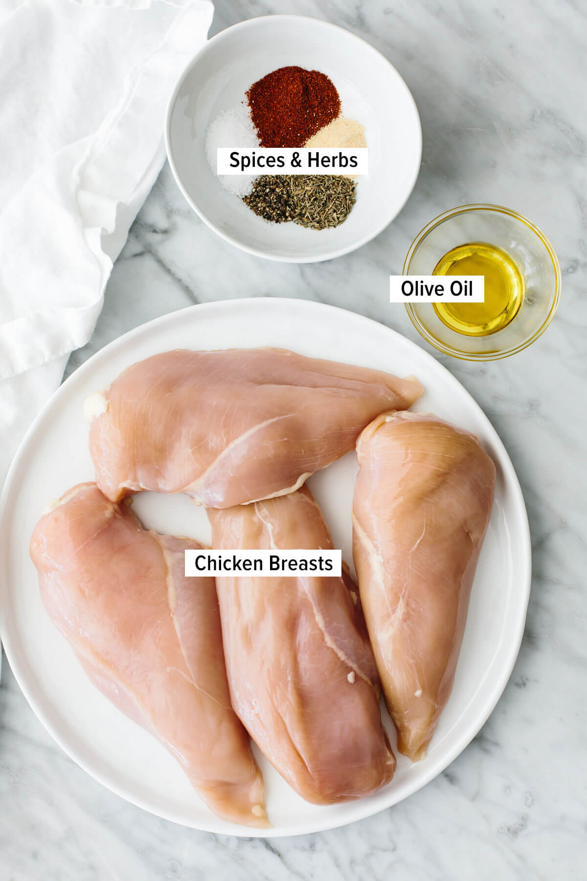 Ingredients for oven baked chicken breasts.
