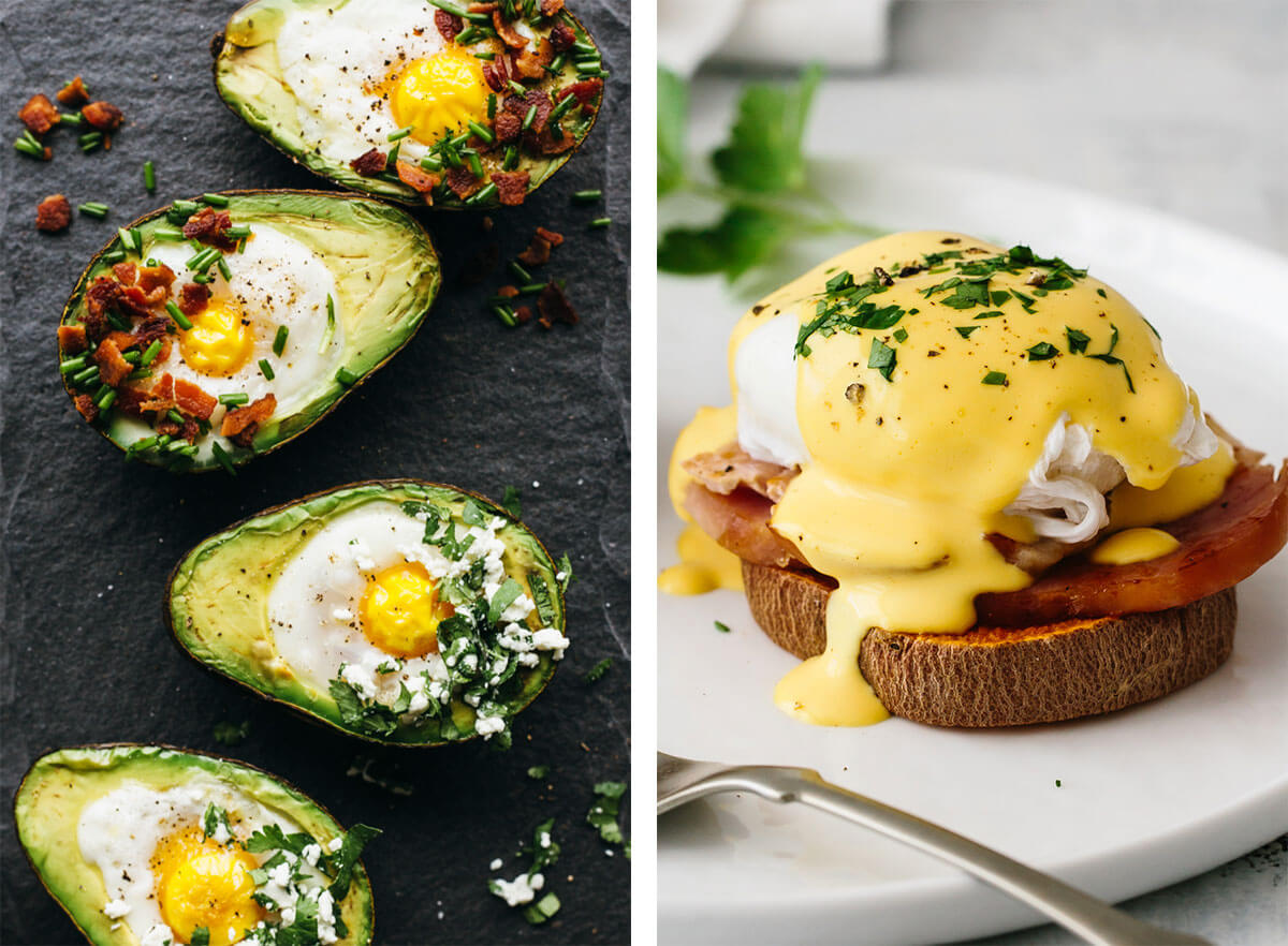 Best breakfast ideas with baked eggs and eggs benedict.