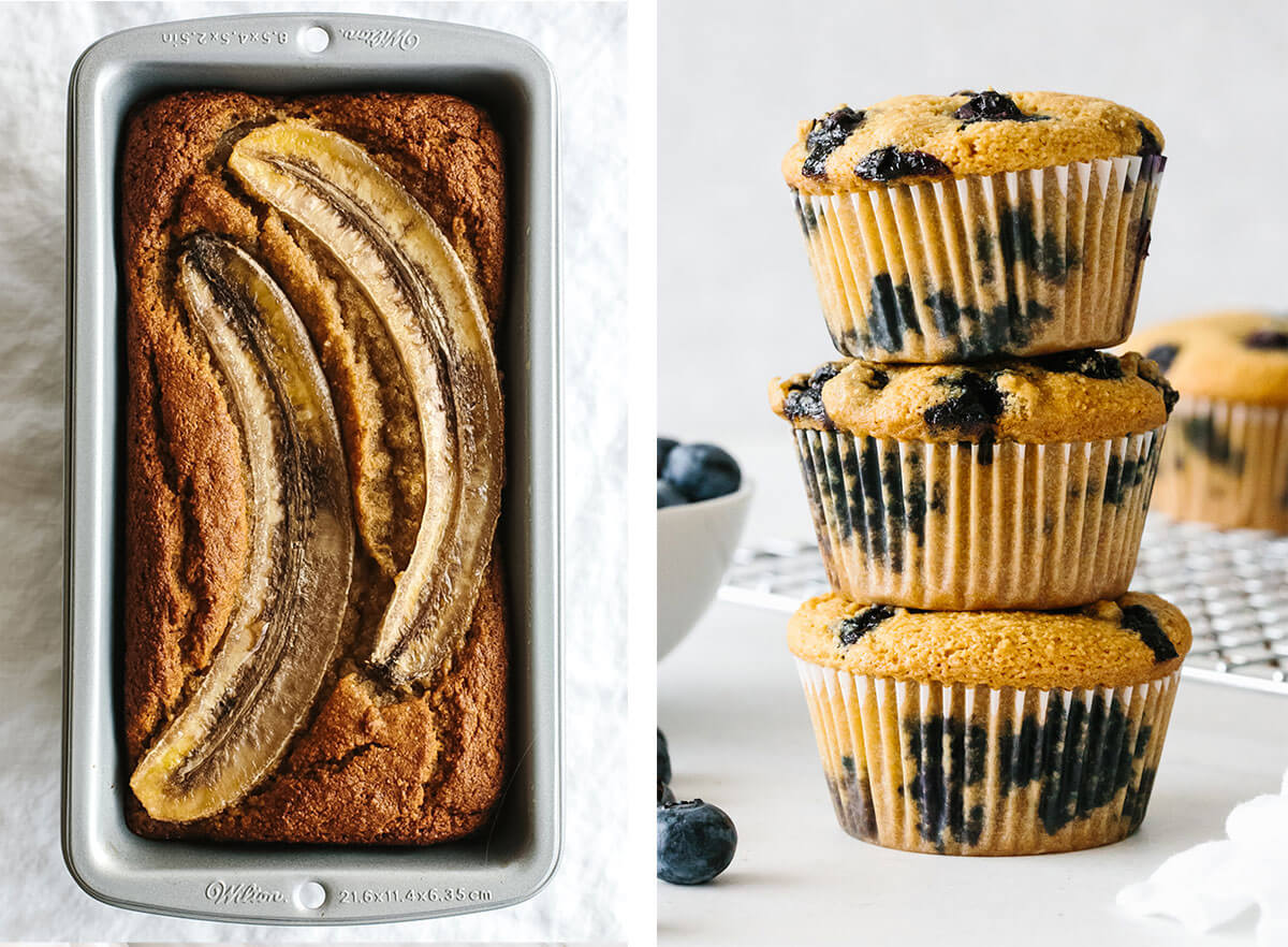 Best breakfast ideas with muffins and banana bread.