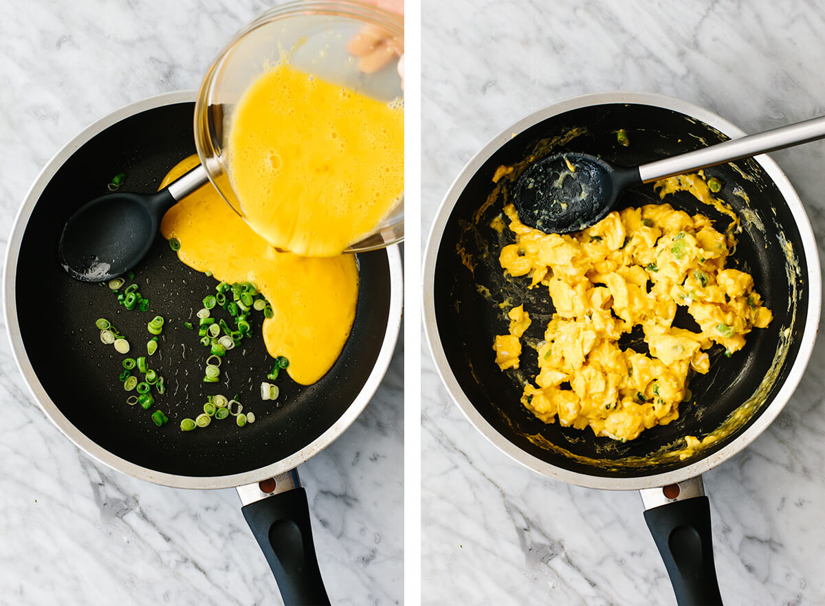 Scrambling eggs in a pan for breakfast tacos.