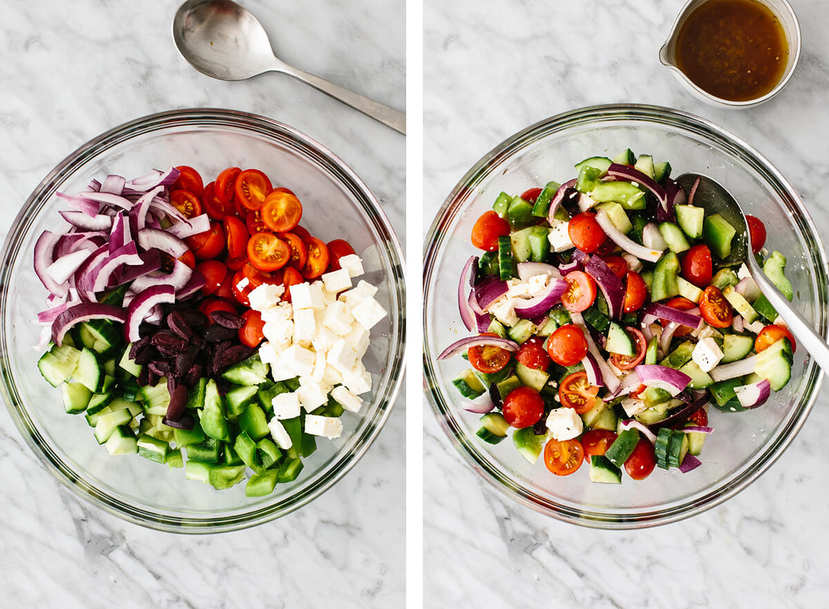 Mixing together the vegetables in a bowl.