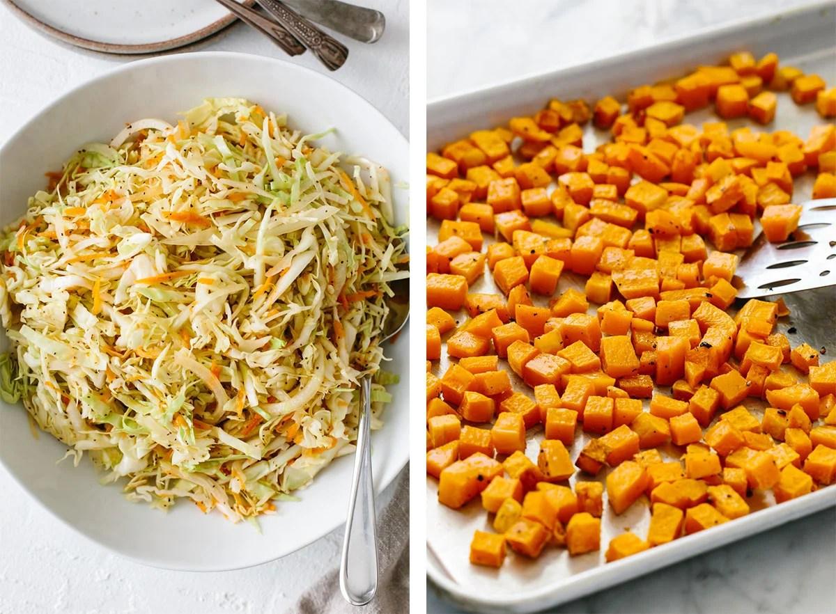 Vegetable ingredients for meal prep recipes.