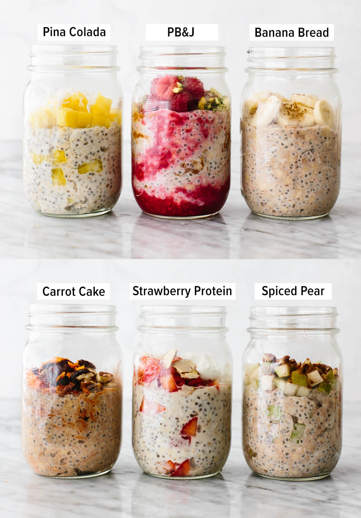 Jars of overnight oats on the table.