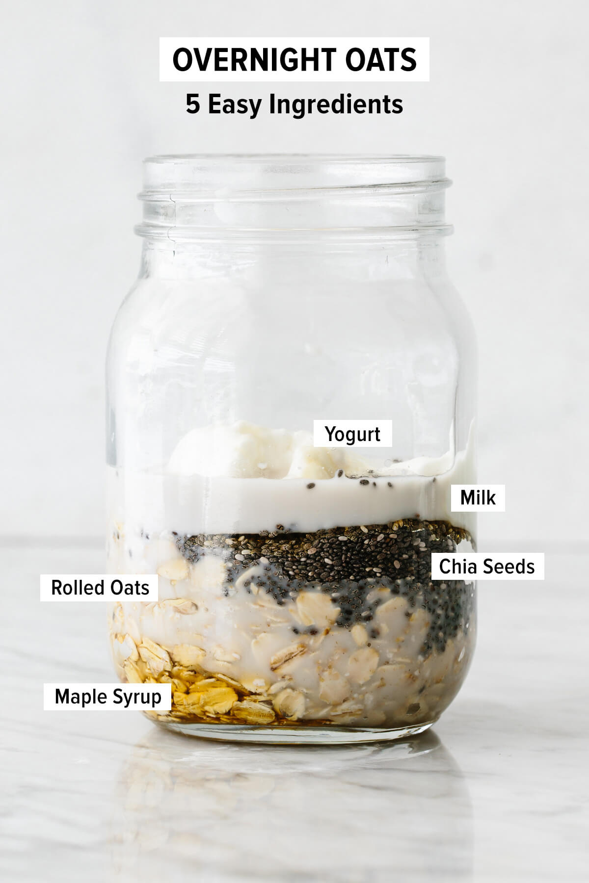 A jar with ingredients to make overnight oats.