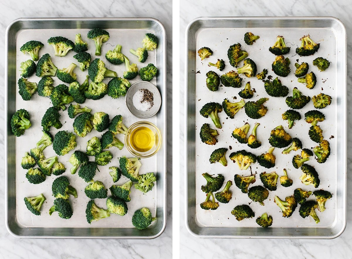 Roasted broccoli on a sheet pan.