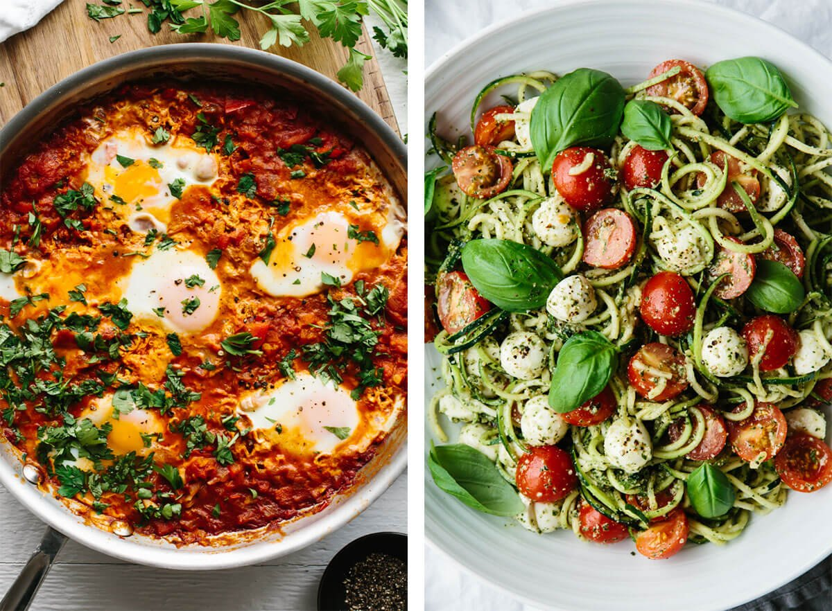 Vegetarian recipes with shakshuka and zucchini noodle caprese.