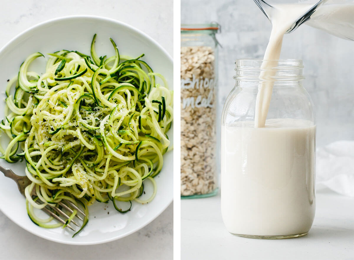 Vegetarian basics with oat milk and zucchini noodles.