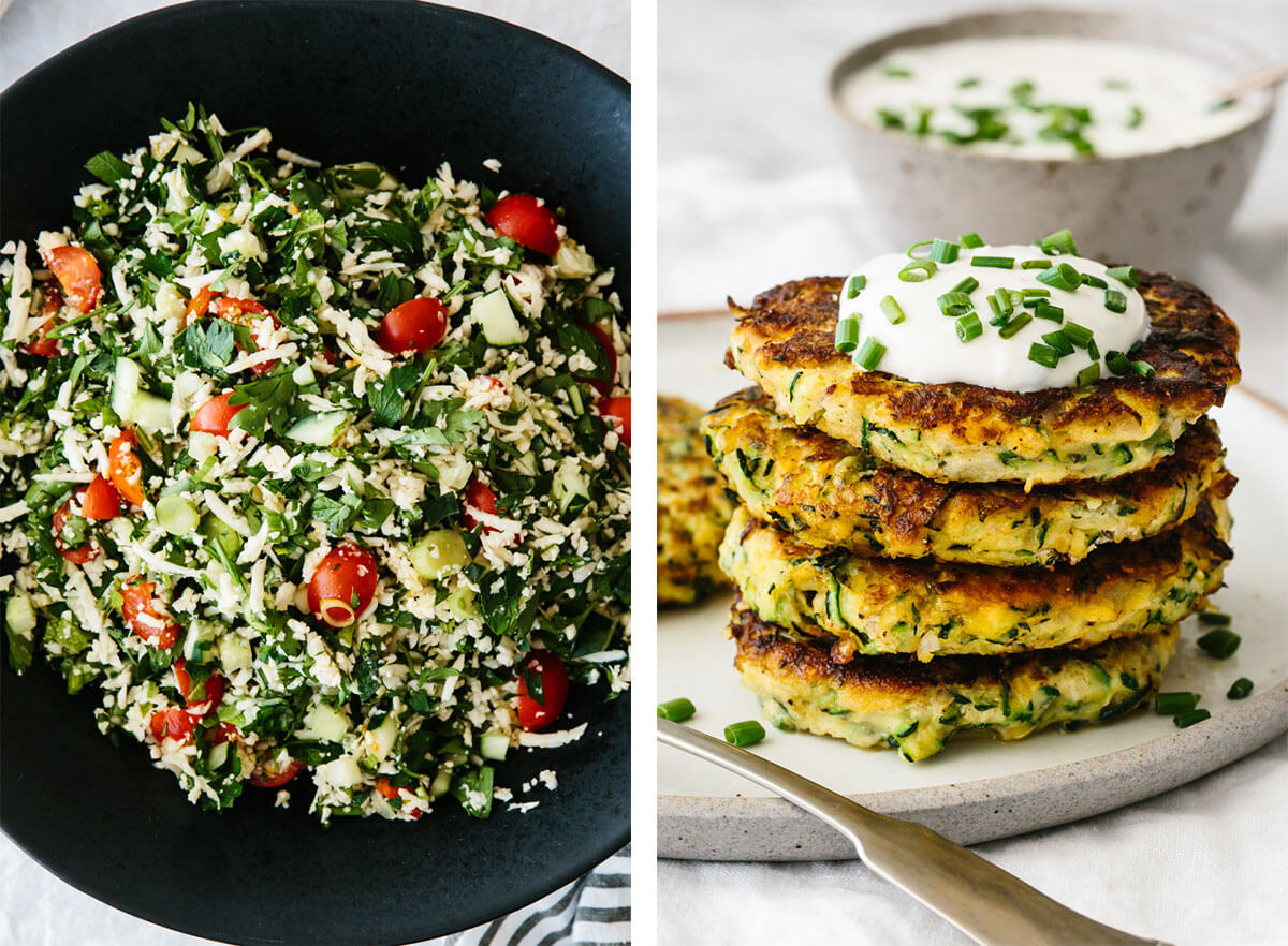 Vegetarian recipes with zucchini fritters and tabbouleh