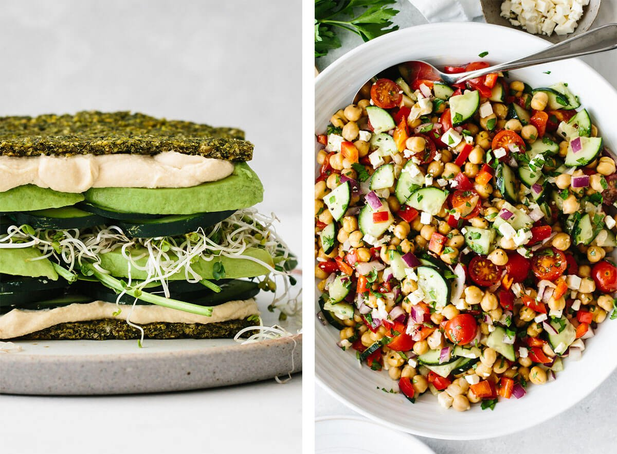Vegetarian recipes with chickpea salad and falafel flatbread.