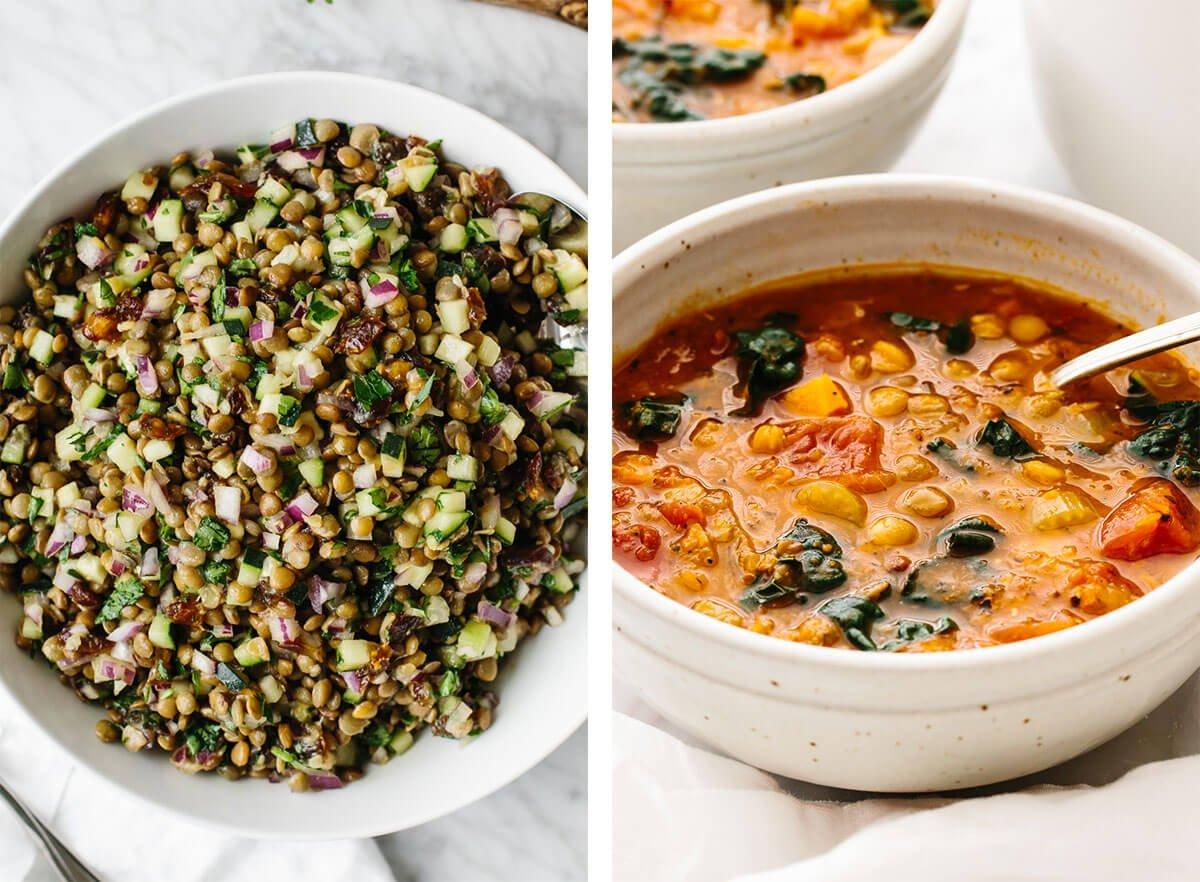 Vegetarian recipes with lentil soup and lentil salad.