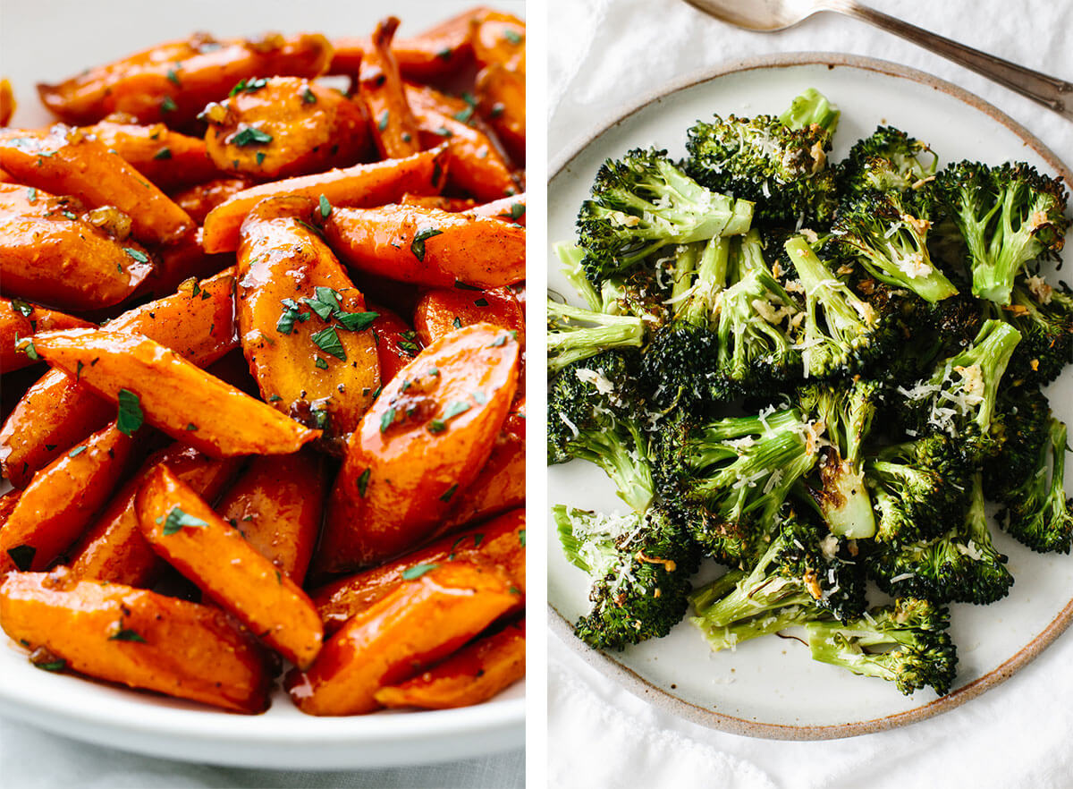Vegetarian recipes with roasted broccoli and glazed carrots.