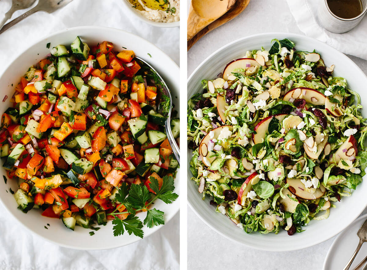Vegetarian recipes with Brussels sprouts salad.