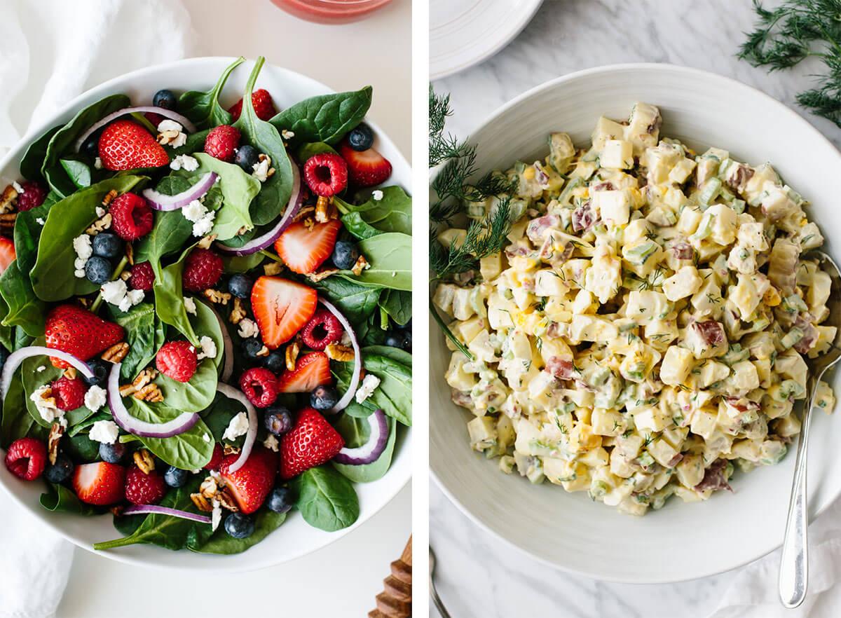 Vegetarian recipes with potato salad.