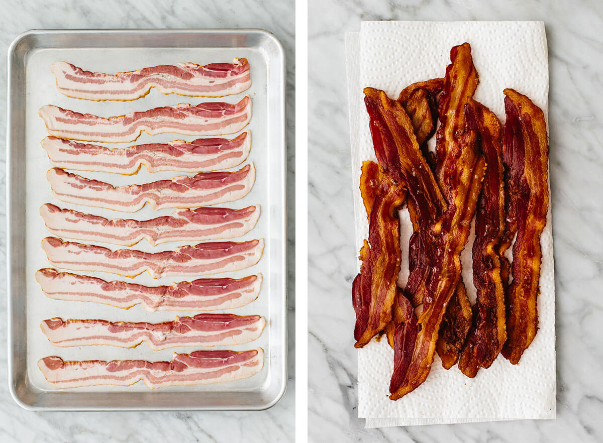 Baked bacon on a sheet pan for stuffed mini peppers.
