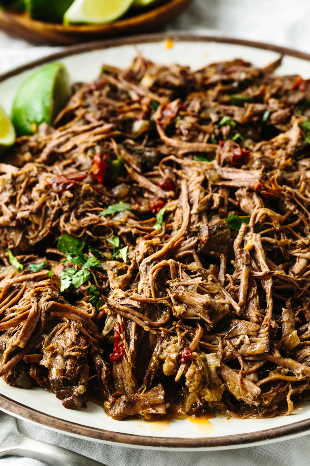 A plate with beef barbacoa on it.