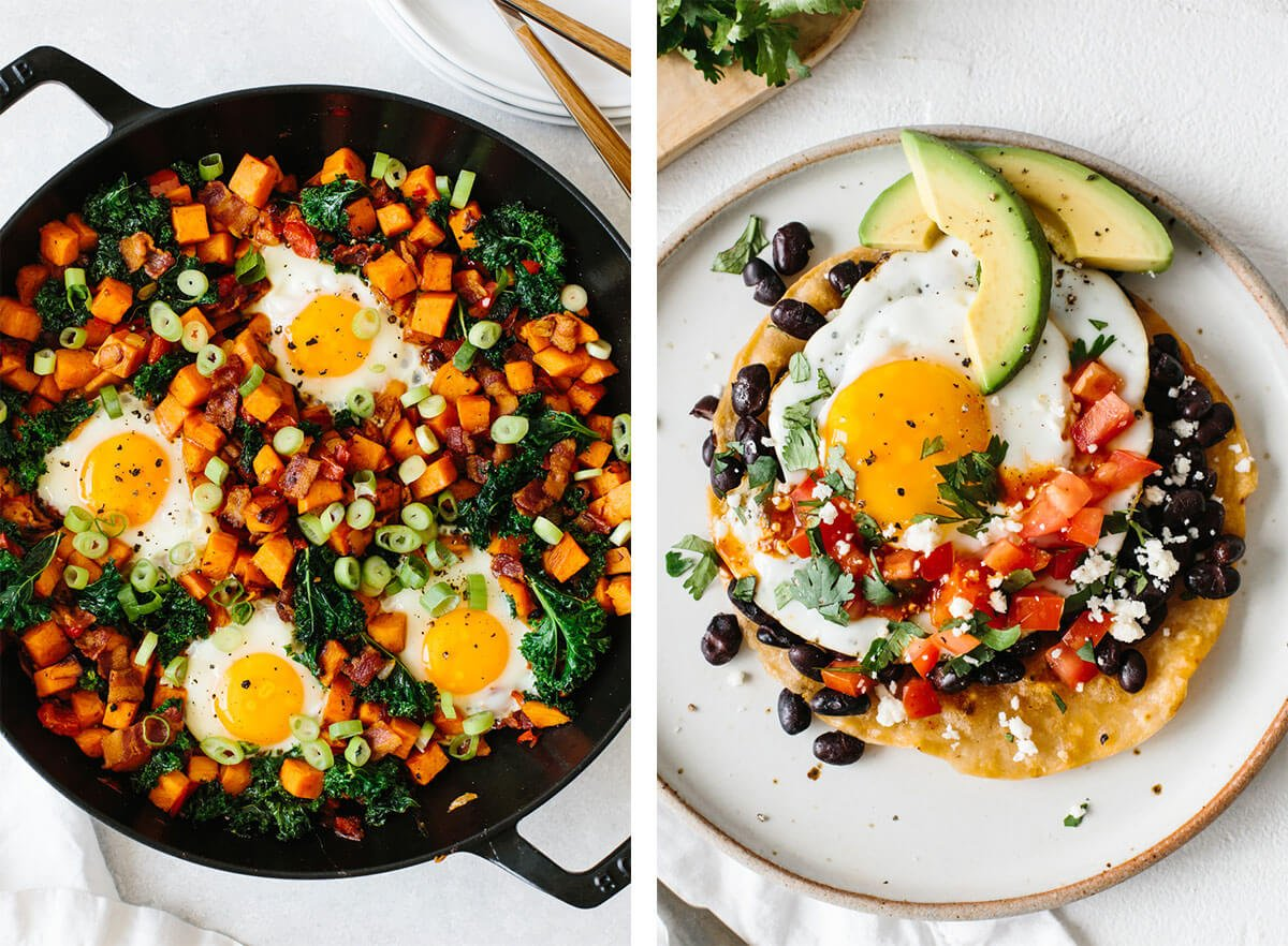 Best egg recipes with sweet potato hash and huevos rancheros.