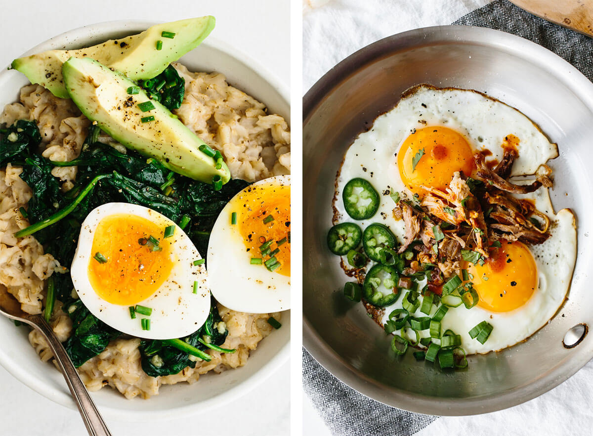 Oatmeal and fried egg for best egg recipes