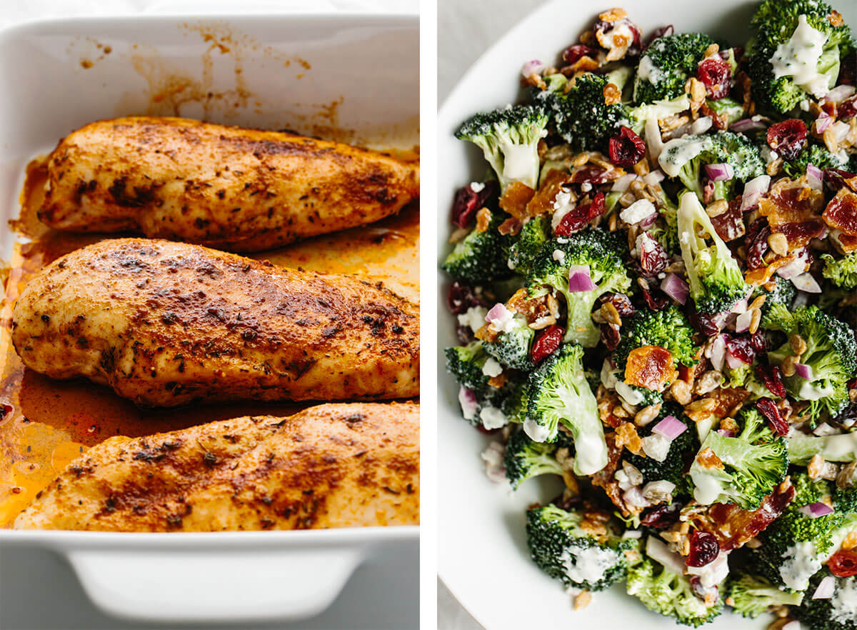 Gluten-free recipes with baked chicken and broccoli salad
