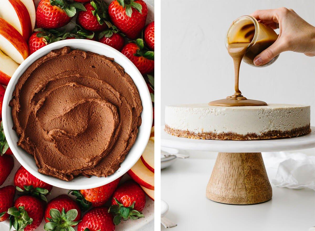 Gluten-free desserts with chocolate hummus and vegan cheesecake.