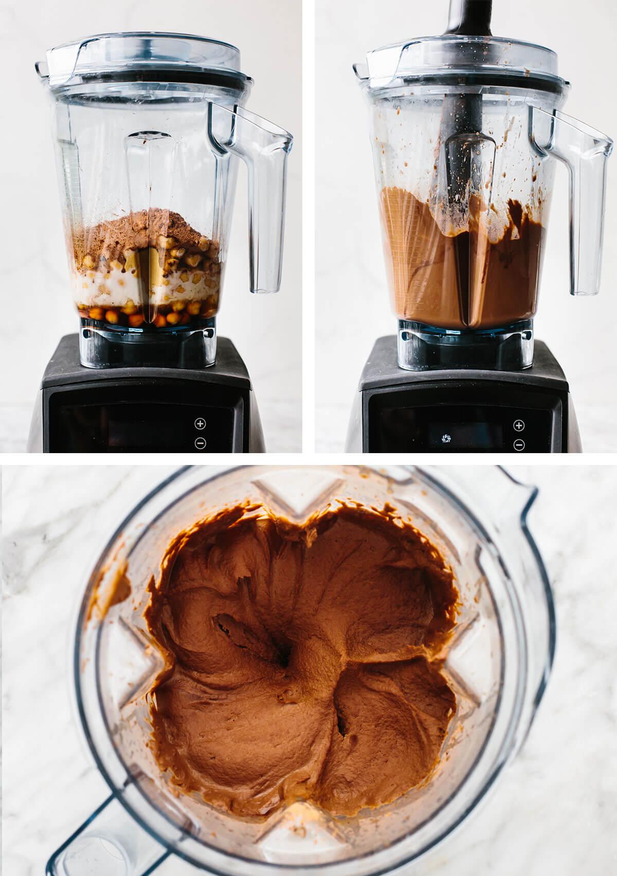 Making chocolate hummus in a Vitamix.