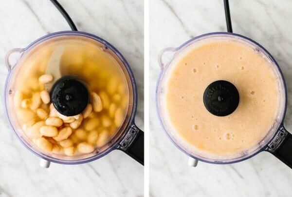Blending beans for white chicken chili.