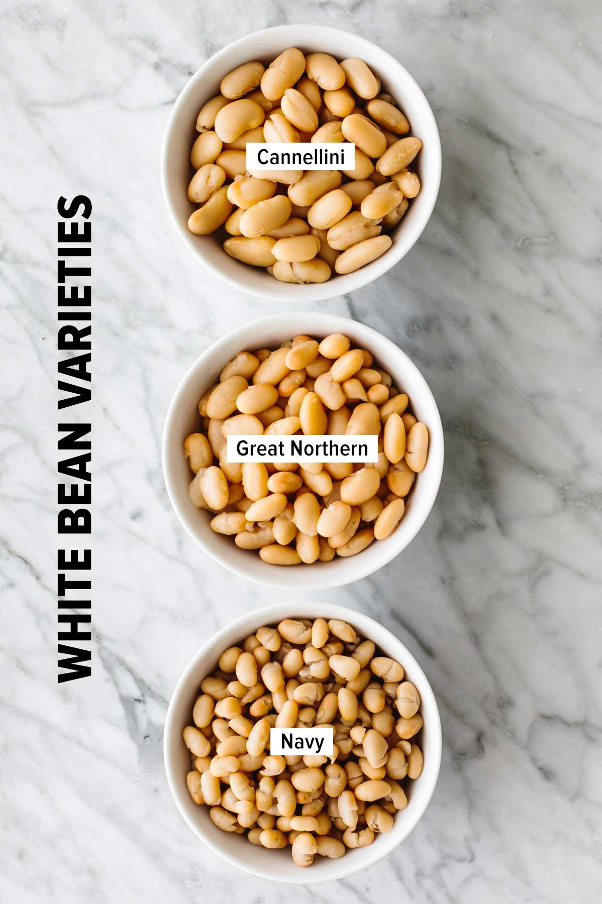 Different varieties of white beans in bowls.