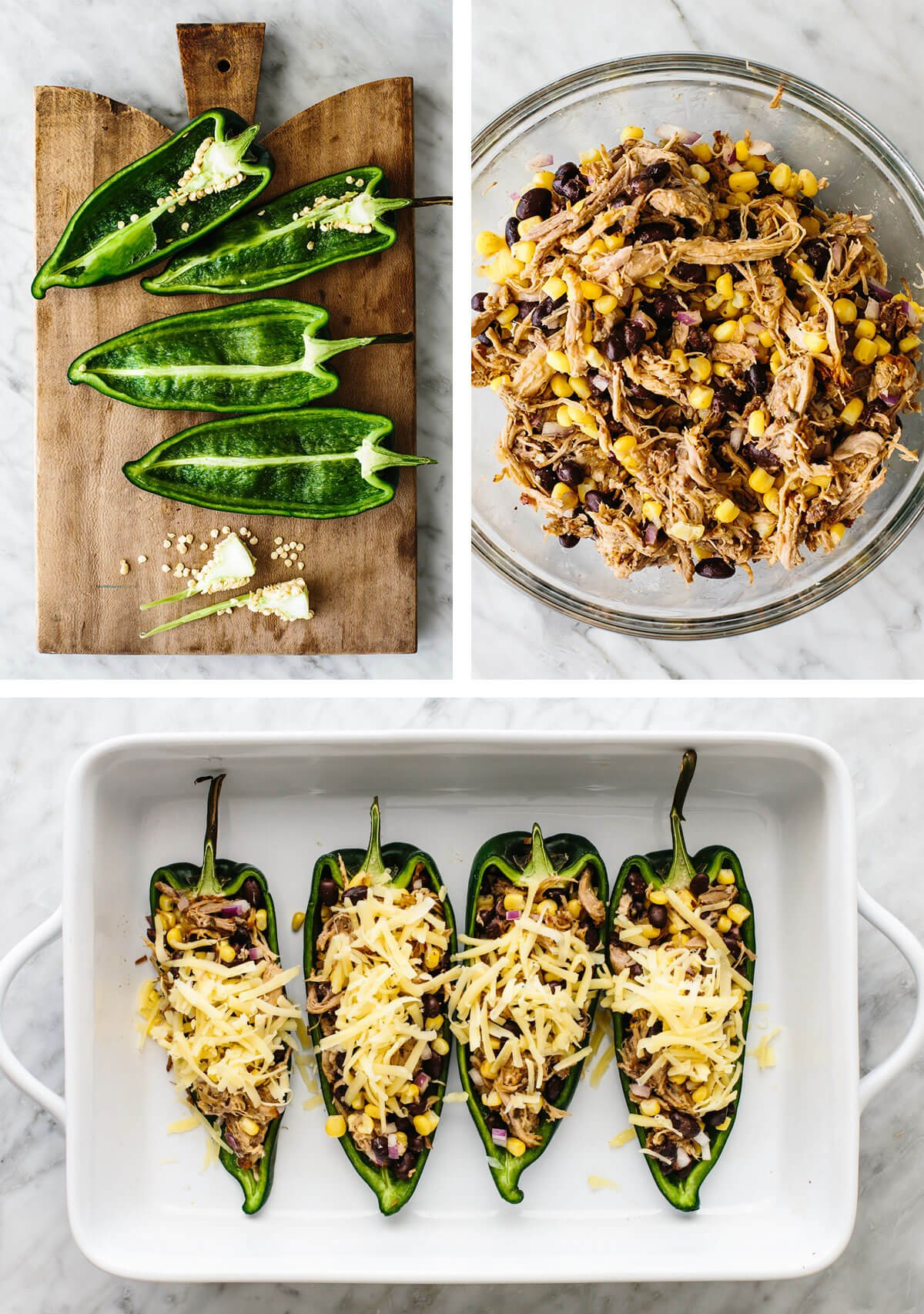 Making carnitas stuffed poblano peppers.